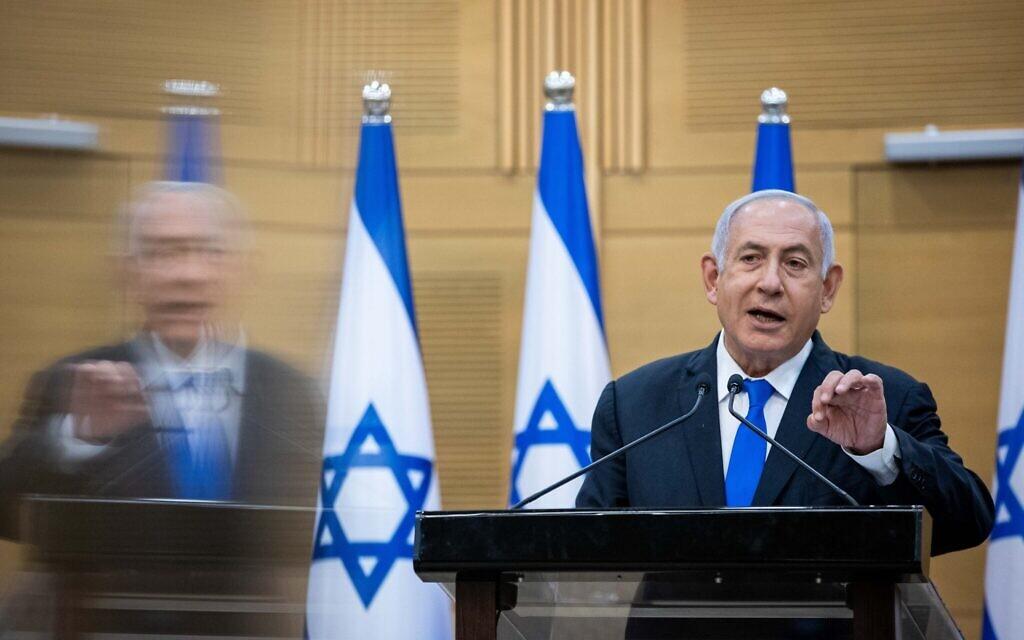 Prime Minister Benjamin Netanyahu at a press conference at the Knesset in Jerusalem on April 21, 2021. (Yonatan Sindel/Flash90)