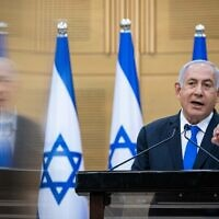 Prime Minister Benjamin Netanyahu speaks during a press conference at the Knesset on April 21, 2021. (Yonatan Sindel/Flash90)