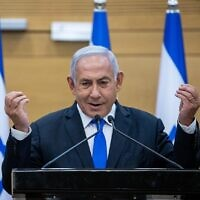 Prime Minister Benjamin Netanyahu speaks at a press conference at the Knesset, in Jerusalem on April 21, 2021. (Yonatan Sindel/Flash90)