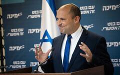 Yamina party leader Naftali Bennett speaks during a faction meeting at the Knesset, on April 26, 2021. (Yonatan Sindel/Flash90)