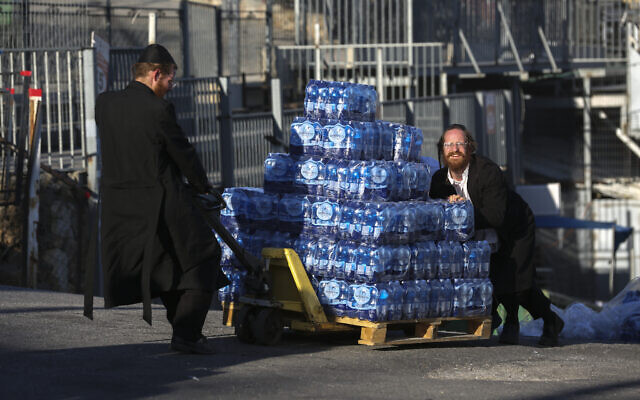 Preparations for the upcoming Lag B'Omer celebrations at Mount Meron on April 27, 2021 (David Cohen/Flash90)