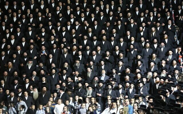 Ultra-Orthodox Jews at Meron ahead of the Jewish holiday of Lag b'Omer, April 28, 2021 (David Cohen/FLASH90)