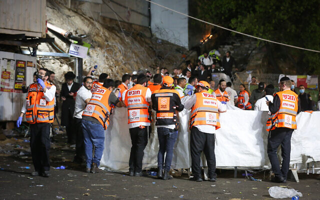 Israeli rescue forces after a crush killed dozens during the celebrations of the Jewish holiday of Lag B'Omer on Mt. Meron, in northern Israel on April 30, 2021 (David Cohen/Flash90)
