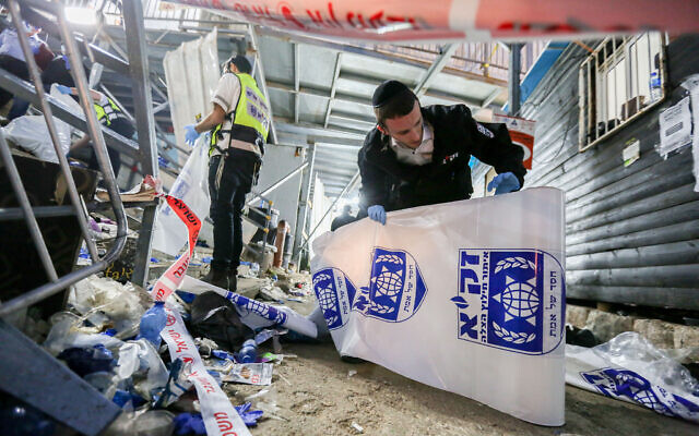 Israeli rescue forces after a deadly crush during the celebrations of the Jewish holiday of Lag B'Omer on Mt. Meron, in northern Israel on April 30, 2021 (David Cohen/Flash90)