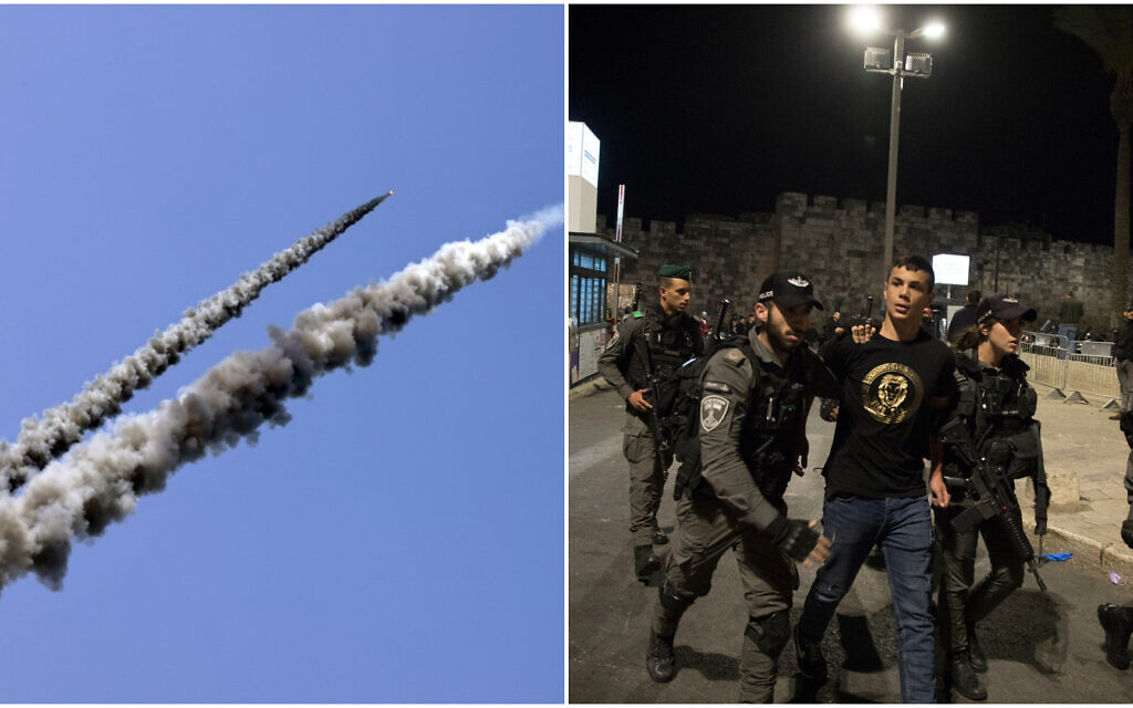 Composite: (L) Rockets are fired toward the sea during a military drill along a beach off of Gaza City on April 24, 2021, hours after fighting with Israel, (R) Israeli police officers clash with Palestinians outside Damascus Gate in Jerusalem on April 22, 2021. (MAHMUD HAMS/AFP / Olivier Fitoussi/Flash90)