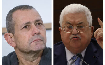 (L) Shin Bet head Nadav Argaman (Miriam Alster/Flash90) and (R) Palestinian Authority President Mahmoud Abbas (Alaa Badarneh/Pool Photo via AP)