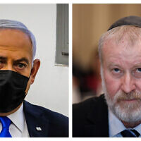 Prime Minister Benjamin Netanyahu (L) and Attorney General Avichai Mandelblit (R). (Flash90)