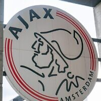 The Ajax logo seen in the team's home arena in Amsterdam. (Nicolas Economou/NurPhoto via Getty Images, via JTA)