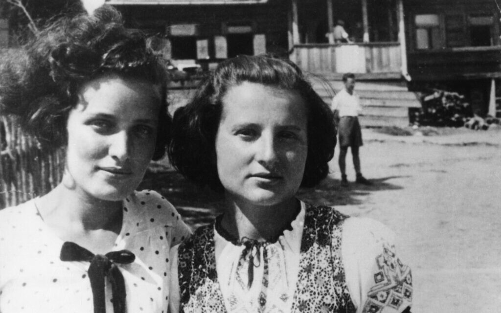 Gusta Davidson (left) and Minka Liebeskind at an Akiva summer camp, 1938. They both became members of the Krakow ghetto underground. (Courtesy of Ghetto Fighters' House Museum, Photo Archive)