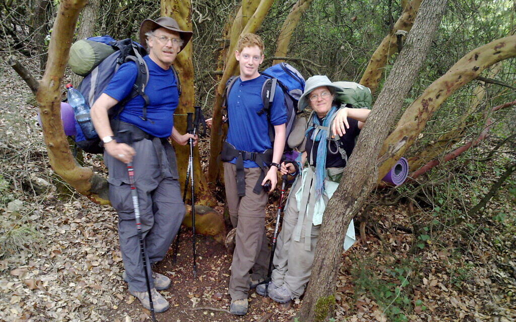 Ezra Rabinowitz, Tzippi Moss and her husband Allan Rabinowitz on the Israel Trail in 2009, the subject of her recently published book, 'Angels and Tahina' (Courtesy Tzippi Moss)