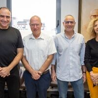 Left to Right: Prof. Yossi Matias, Google VP and Managing Director of the Google Center in Israel; Prof. Ariel Porat, president of Tel Aviv University; Prof. Meir Feder, head of TAU Center for Artificial Intelligence and Data Science (TAD) and Prof. Tova Milo (Courtesy)