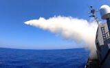 IAI's Sea Serpent missile in action, firing from a ship (Courtesy)