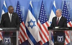 Prime Minister Benjamin Netanyahu (R) and US Defense Secretary Lloyd Austin at a press conference at the Prime Minister's Office in Jerusalem on April 12, 2021. (Kobi Gideon/GPO)