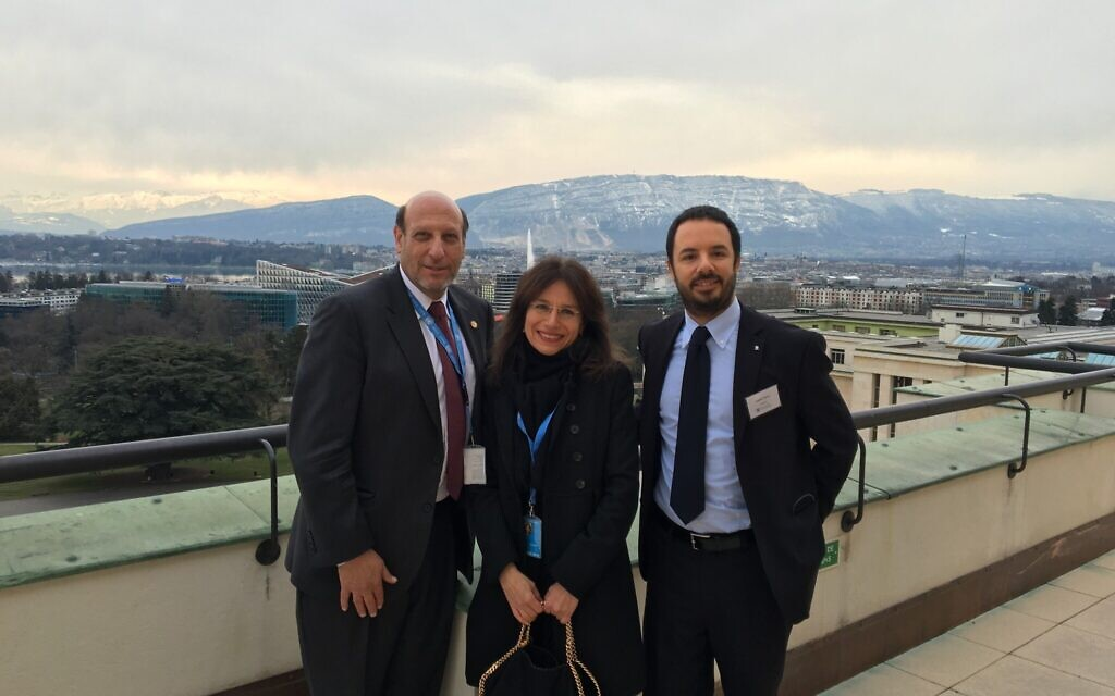 Anita Winter on the roof of the UN in Geneva with a B'nai Brith delegation. (Courtesy)