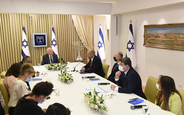 Members of the Yesh Atid party meet with President Reuven Rivlin at the President's Residence in Jerusalem on April 5, 2021 (Mark Neyman / GPO)