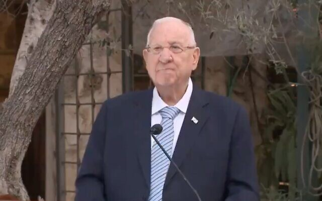 Screen capture from video of President Reuven Rivlin at an inter-religious meeting in Abu Gosh, April 28, 2021. (Twitter)