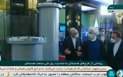 Iranian President Hassan Rouhani inaugurates new centrifuges at the Natanz plant in Iran on Saturday April 10, 2021. (Screenshot/Iranian state TV)