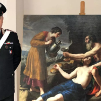 The Poussin painting seized from the home of an antiques dealer Handout Carabinieri (Press Office/AFP)