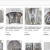 Items that purportedly belonged to Nazi leader Adolf that have been put up for auction in Australia by JB Military Antiquities. (Screen capture)