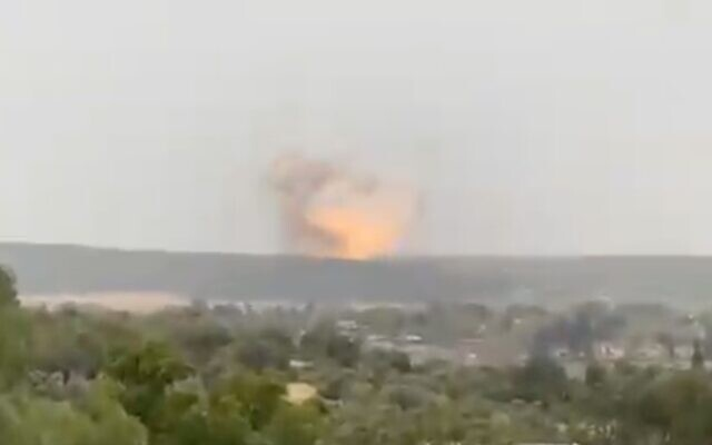 An explosion is seen at a rocket factory in central Israel in which the manufacturer says was a 'controlled test' on April 20, 2021. (Screen capture/Twitter)