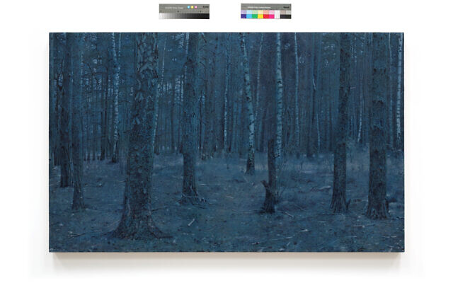 A forest in Sobibor, from 'Prussian Blue,' Yishai Jusidman's series of 50 paintings on display at the Mishkan Museum of Art at Ein Harod from March 24, 2021 (Courtesy Ein Harod)