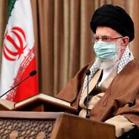 Iranian Supreme Leader Ayatollah Ali Khamenei attends a meeting in Tehran, Iran, on April 14, 2021. (Office of the Iranian Supreme Leader via AP)