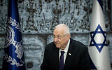 President Reuven Rivlin hosts an event for Holocaust survivors ahead of Holocaust Remembrance Day, at the President's residence in Jerusalem, April 4, 2021. (Yonatan Sindel/Flash90)