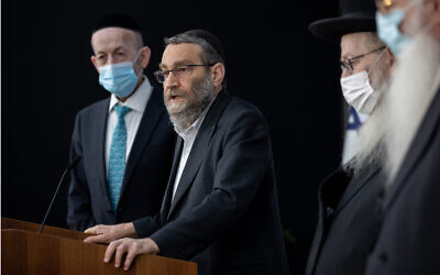 United Torah Judaism leader Moshe Gafni gives a press statement after meeting with President Reuven Rivlin at the President's Residence in Jerusalem on April 5, 2021. (Yonatan Sindel/Flash90)