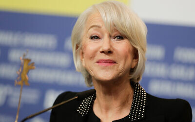 Actress Helen Mirren talks to media during a news conference during the 70th International Film Festival Berlin, Berlinale in Berlin, Germany, Feb. 27, 2020. (AP Photo/Markus Schreiber)