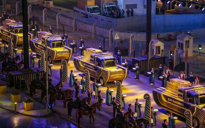 A convoy of vehicles transporting royal mummies in Cairo, Egypt, April 3, 2021. (AP Photo)