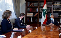 Lebanese President Michel Aoun, right, meets with US Undersecretary of State for Political Affairs David Hale, center, and, US Ambassador to Lebanon Dorothy Shea, left, at the presidential palace, in Baabda, east of Beirut, Lebanon, April 15, 2021. (Dalati Nohra/Lebanese Official Government via AP)