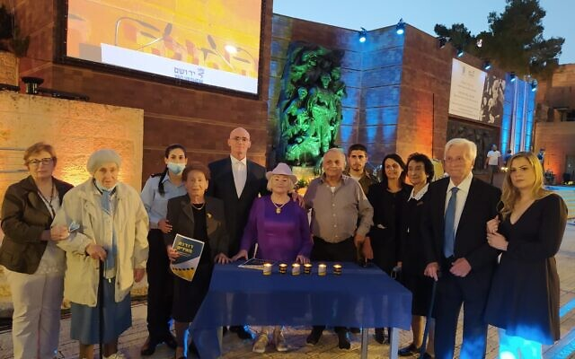 The six Holocaust survivors serving as torchlighters for the annual Yad Vashem Holocaust Remembrance Day ceremony on April 7, 2021 lit memorial candles from rabbinical organization Tzohar, which is partnering with Yad Vashem in the 'Generations Light the Way' project, encouraging people to gather together to light six memorial candles, a format created last year with the onset of COVID in order to have ceremonies at home to mark Yom Hashoa (Courtesy Dena Wimpfheimer)