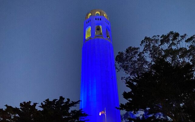 San Francisco's Coit Tower lights up in blue and white in honor of Israel's Independence Day on April 14, 2021. (Foreign Ministry)