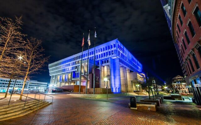 Boston's City Hall lights up in blue and white in honor of Israel's Independence Day on April 14, 2021. (Foreign Ministry)