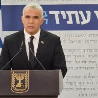 Yesh Atid leader Yair Lapid during a press conference, April 18, 2021. (Courtesy)