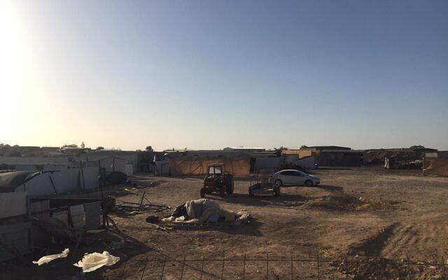 The sun goes down in Bir Hadaj, on Tuesday, April 27, 2021 (Aaron Boxerman/The Times of Israel)