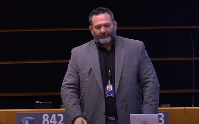 Greek MEP Ioannis Lagos, a former leader of the neo-Nazi Golden Dawn party, in an undated image (video screenshot)