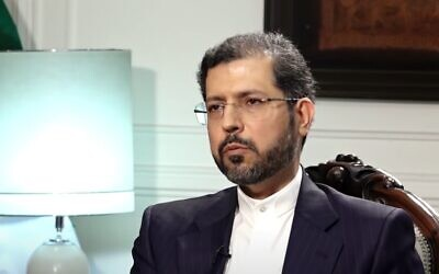 Iranian foreign ministry spokesman Saeed Khatibzadeh during an interview, November 2020 (video screenshot)