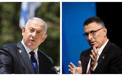 Prime Minister Benjamin Netanyahu (left) and New Hope leader Gideon Sa'ar (right). (Flash90)