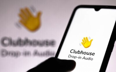 The Clubhouse app on an iPhone. (Rafael Henrique/SOPA Images/LightRocket via Getty Images)