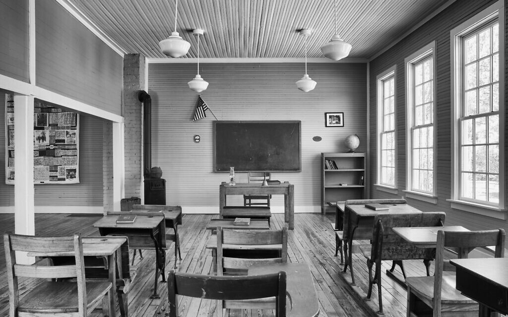 A restored classroom at the Pine Grove School in Richland County, South Carolina, one of the 'Rosenwald schools' funded by the Jewish philanthropist Julius Rosenwald to educate Black children in the segregated South. (Andrew Feiler/ via JTA)