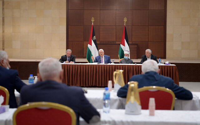 Palestinian Authority President Mahmoud Abbas announces that the PA legislative elections will be indefinitely delayed, on Thursday, April 29, 2021. (WAFA/Tha'ir Ghanayem)