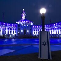 Denver's city call lights up in blue and white in honor of Israel's Independence Day on April 14, 2021. (Israeli-American Council)