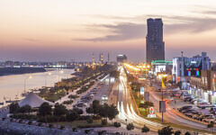 Illustrative: A creek and corniche in Ras al Khaimah, illuminated at night (iStock)