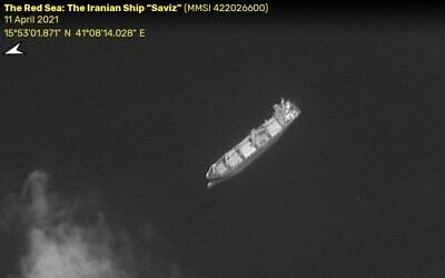 Iranian ship the Saviz in the Red Sea on April 11, 2021. (ImageSat International)