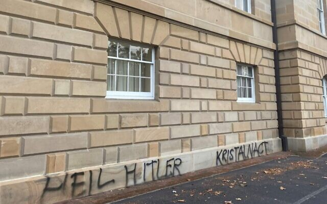 Neo-Nazi messages daubed on the Parliament House in Hobart, Tasmania, Australia, April 2021. (Anti-Defamation Commission/courtesy)