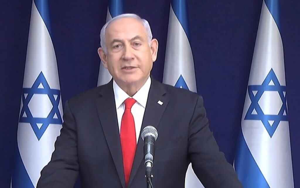 Prime Minister Benjamin Netanyahu claims he is the victim of an attempted political coup, in remarks after the first day of evidence against him in his corruption trial, April 5, 2021. (GPO)