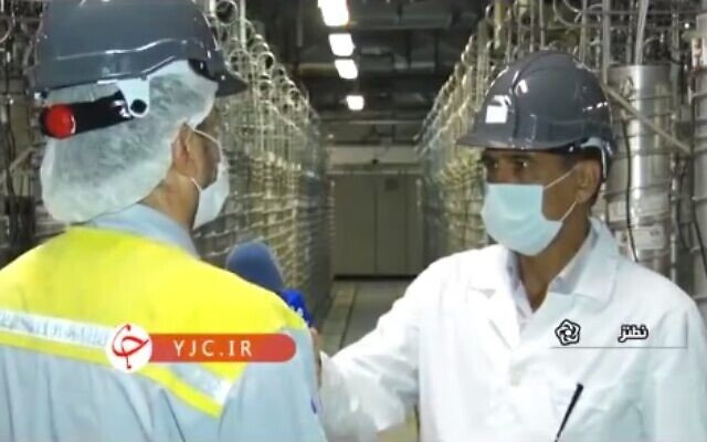 Footage of the Natanz nuclear facility aired by Iranian state TV, on April 17, 2021. (Screen capture/Twitter)