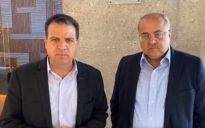 Joint List's Ayman Odeh and Ahmad Tibi give a statement after their meeting with Yesh Atid leader Yair Lapid in Tel Aviv, April 1, 2021(Screen grab)