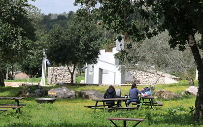 People enjoying the picnic grounds at the Mahal memorial for foreign volunteers of the Israel Defense Forces. (Shmuel Bar-Am)